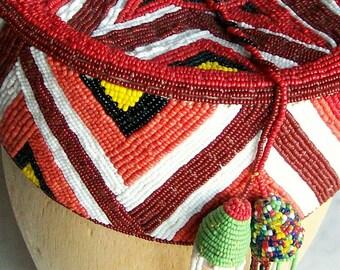 Vintage Beaded Hat African Nigeria Yoruba Red Geometrics Star Design Tribal Crown Ceremonial 1970's