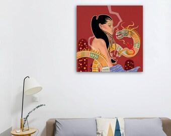 Il y a une histoire à raconter, fille nue aux cheveux de noir avec un Dragon sur fond rouge par Andrew Turtsevych