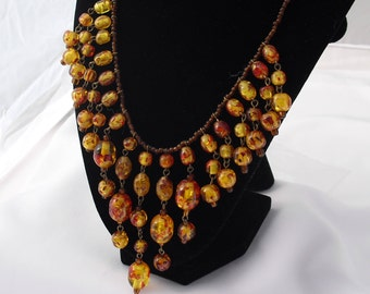 Confetti Lucite Necklace Yellow Beads Red Swirls, Vintage Lucite Beads, Vintage Bib Necklace