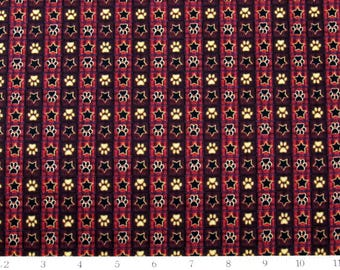 Dog Paw Fabric Its a Ruff Life Stripe Star Burgundy Fabric From Quilting Treasures