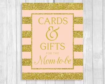 Cards and Gifts for the Mom-to-Be 5x7, 8x10 Printable Baby Shower Gift Table Sign in Pink and Gold Glitter Stripes - Instant Download
