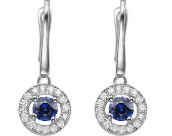 Dangle Sapphire  Earrings, 14K White Gold Earrings, 0.80ct Blue Sapphire Earrings, Sapphire diamond earrings, Halo Sapphire earrings