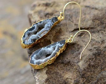 Gold dipped Grey Amethyst Geode Natural Stone Drop Dangle Earrings slice Gold