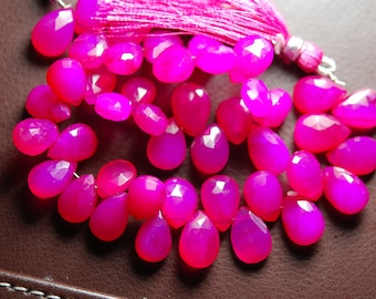 7 Inch Strand -Hot Pink Chalcedony Faceted Pear Briolette, Size 10-13mm Approx