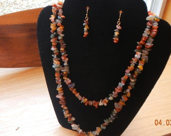 Polished Semi-Precious Stone Chip Necklace/Matching Earrings