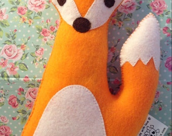 Felt plush fox- Mr fox plushie- fox toy - handmade Christmas gift - childrens Christmas gift - kids Christmas gift
