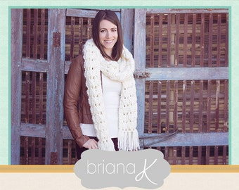 Alamos Scarf Crochet PATTERN, in 2 Size Options, Instant Download