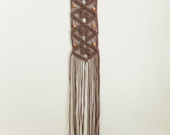 Brown Macrame Wall Hanging with wooden beads