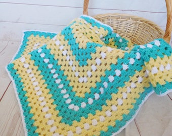Ready to ship Crochet baby blanket - turquoise granny square blanket - turquoise yellow and white baby afghan - nursery decor - baby shower