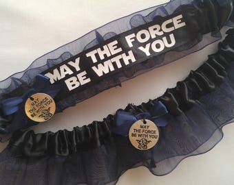 "NEW Handmade wedding garters keepsake and toss STAR WARS ""May the force be with you"" Yoda wedding garter set"