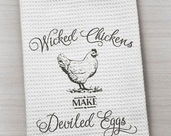 Wicked Chicken Towel, Chicken Towel, Hen Towel, Farm Towel, Farmhouse Towel, Waffle Weave Towel, Kitchen Towel, Country Towel