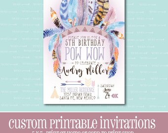Tribal Birthday Invitation, Printable Invitation, BIRTHDAY PARTY INVITATION,Tribal,Digital,Customizable,Birthday,Birthday Party,Indian,Boho