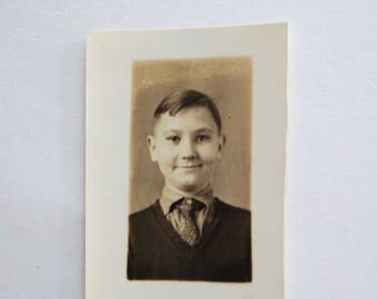 Vintage Photograph, School Picture, Dapper Little Dude