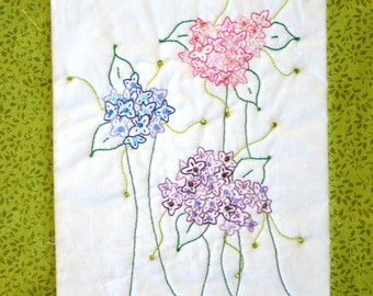 "PDF Embroidery Pattern ""Skylacs"" Whimsical  Beaded Flower Stitchery"