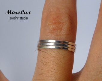 Set of 3 Simply Thin Stacking Silver Rings, Super Thin Flat Rings, Tiny Stackable Rings, Little Flat Stacker, Minimal Dainty Mini Flat Rings