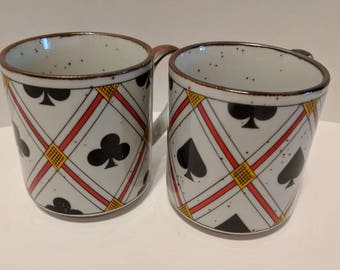 Spades and clubs stoneware mugs set of 2
