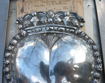 Antique French Crowned Heart Ex Voto, The Heart of Mary, offered by RusticGypsyCreations