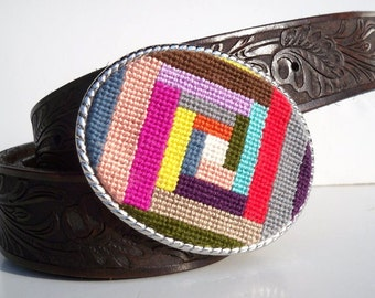 NEW Needlepoint Colorful Quilt Inspired Belt Buckle
