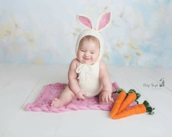 Sitter Bunny Bonnet with Hand Felted Ears w/ Optional Matching Romper, 6-12 months Ivory and Pink Bunny, felted bonnet, felted animal bonnet