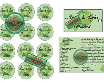 Apple & Spice Fritters Recipe Gift Tags Jar Label 3 File Digital Pack