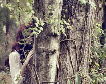 Hide and Seek - FREE SHIPPING - Surreal Photography Print Portrait Nature Art Girl Tree Hugger Caught Brown Red Green Vines Bright Hiding
