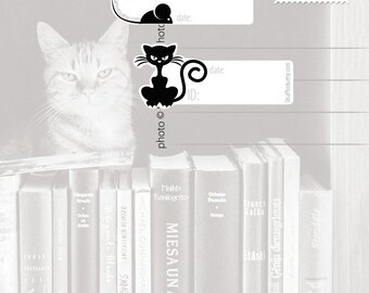 Cats - Postcard ID and DATE stickers for Postcrossers, Postcard and planer stickers. Set of 18