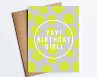 Yay Birthday Girl - NOTECARD - FREE SHIPPING!
