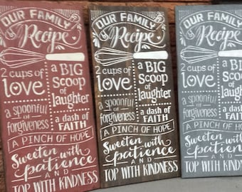 OUR KITCHEN RECIPE/Sign/Kitchen Sign/Hostess/Housewarming/Family Gift/Kitchen Rules
