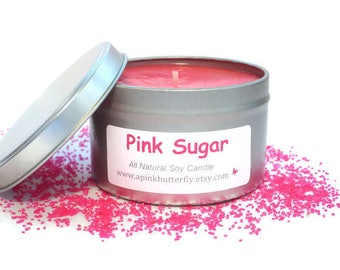 Pink Sugar Soy Candle - 8 oz Scented Handmade Natural Soy Wax Vegan Candle - Eco-Friendly Recyclable Tin