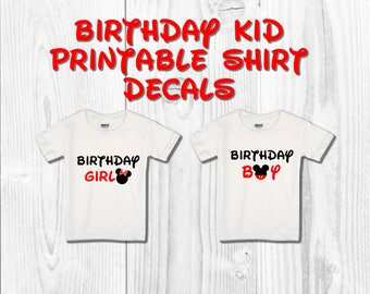 Mickey and Minnie Birthday Printable Shirt Decals