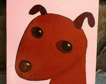 Little Brown Dog.  Acrylic Folk Art Painting on Stretched Canvas