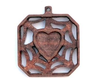 wooden bezel,wooden pendant orgonite trays spider web heart  Dark walnut base blank  Wooden Base