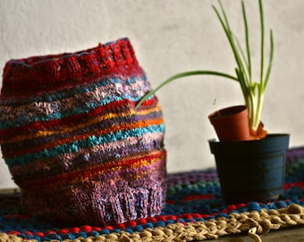 REDRED handmade knitted DREADLOCK friendly hat. 52 cm diameter. Wool, cotton, mixed materials. One of a kind.