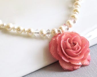 Real Rose Necklace - Pink Rose, Pearl Necklace, Real Flower Jewelry, Nature Jewelry, Flower Necklace, Statement Necklace, Small Rose