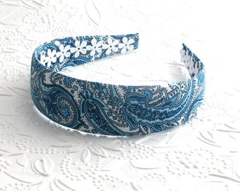 Blue Paisley Wide Womens / Adult Headband ~ Fabric Covered Headband ~ Resort Wear ~  Country Club ~ Preppy Hair Accessories
