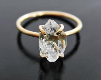 Herkimer Diamond Quartz Crystal Engagement Ring - Gold Fill Ring - Raw Crystal Ring