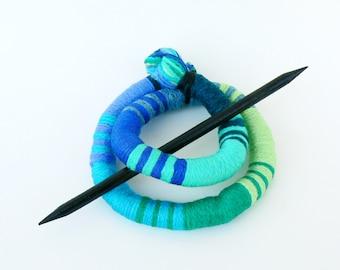 Ethnic bun holder, Stick Slide Fascinator, Shawl brooch, Large hair barrette, Thick hair clip Turquoise pin slide Ponytail holder green blue