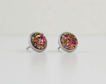 Pink Gold Druzy Crystal Earrings | ATL-E-162