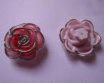 silver and red flower bead 40 mm in diameter