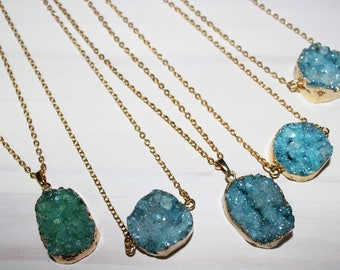 Teal Druzy Necklace. Geode Necklace. Druzy Jewelry. Stone Necklace. Teal Aqua Gold Necklace. Chunky Necklace.