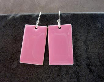 Pink Earrings/ Rectangle Dangle Earrings / Sterling Silver Earrings/ Simple Drop Earrings/ Everyday Summer Earrings