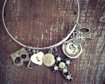 BlEssEd Bracelet Bangle, Blessed Blessings Love Charm Bangle Bracelet, Initial Charm Bracelet