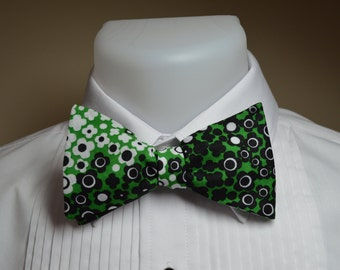 Green,Black & White Bow Tie