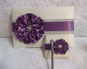 Ivory Satin Wedding Guest Book with Amethyst Purple Flower and Rhinestone Mesh Trim & Pen Set