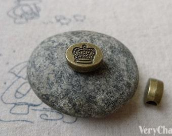 20 pcs Antique Bronze Rondelle Crown Spacer Beads 9x11mm A6656