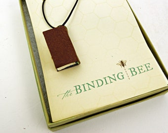 Mini book necklace brown on leather cord