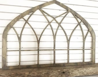 Intersecting Wooden Vintage Inspired Arched Window Frame Wall Art Decor