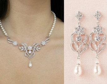 Bridal Jewelry SET, Backdrop Wedding Necklace, Rose Gold, Bridal earrings, Swarovski Crystal Pearl, Wedding jewelry, Kathryn Bridal SET