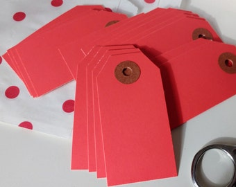 """Parcel Tags, 25 Gift Tags, Hanging Tags 25 Red Shipping / Parcel Tags - Small - 2 3/4 x 1 3/8""""  tags, Red Tags,  Gift Tags,  Packaging"""