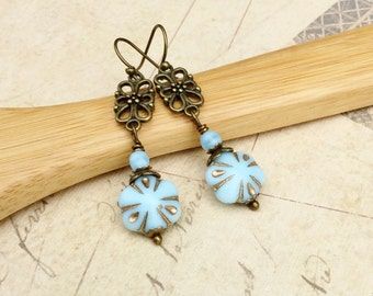 Light Blue Earrings, Blue Earrings, Light Blue Earrings, Czech Glass Beads,Long Blue Earrings,Flower Earrings,Unique Earrings, Gifts for Her